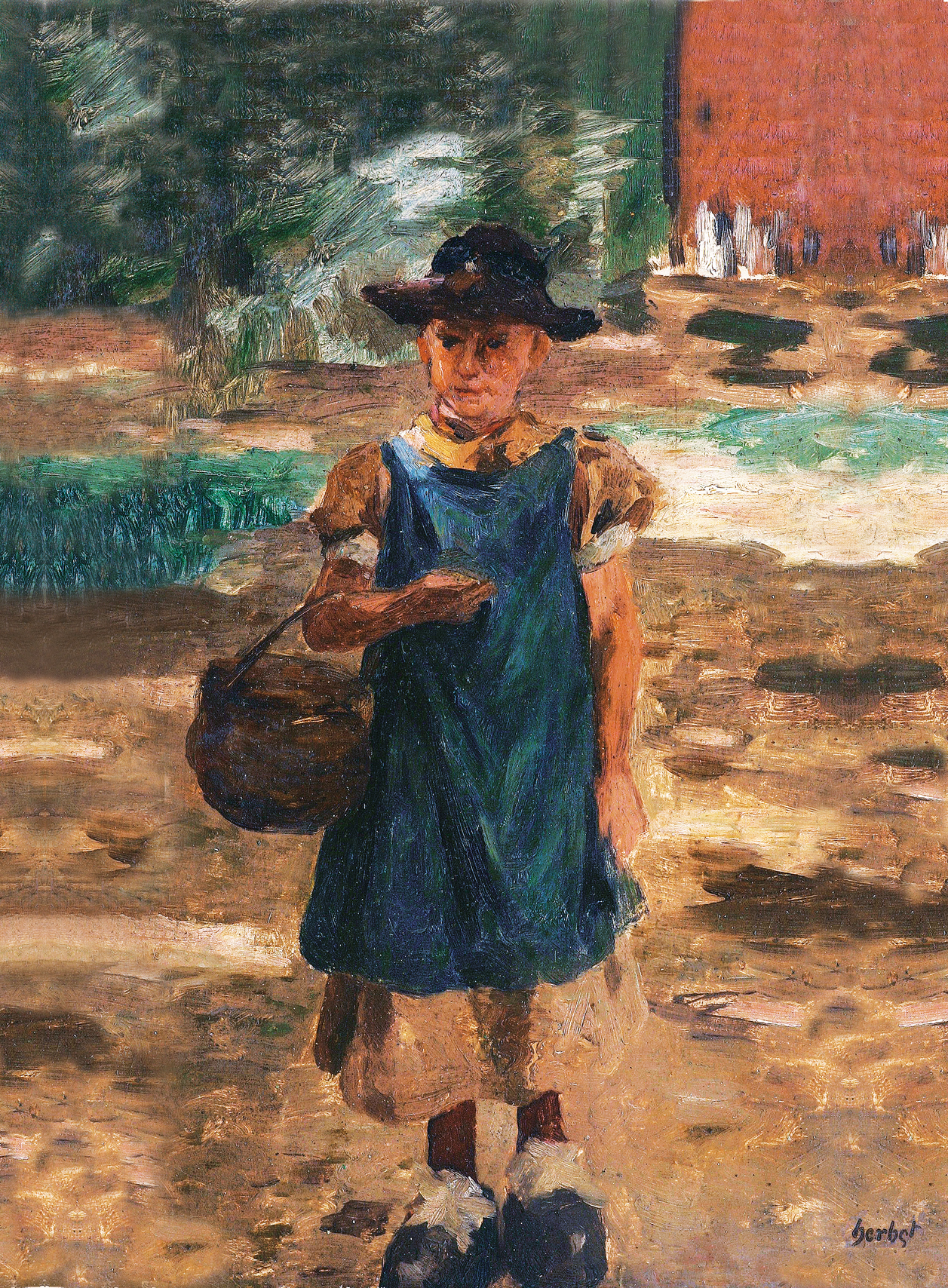 A peasant girl with a basket