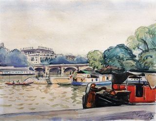 A view of the river Seine with boats