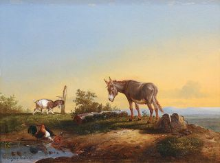 A Donkey, a Goat and Poultry in front of an extesive Landscape
