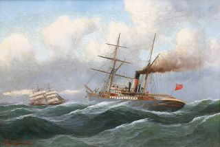 A Steamer and a Sailship on stormy Sea