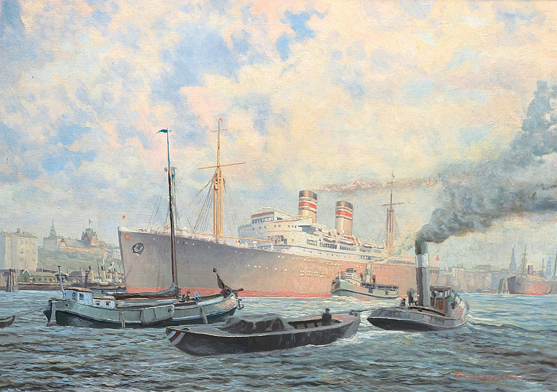 The Hapag-Lloyd Steamer 'Pretoria' in the harbour in Hamburg