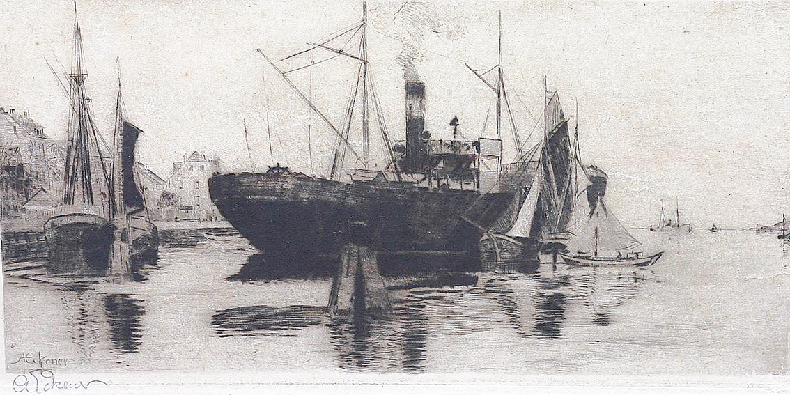 Steamer in the harbour in Flensburg