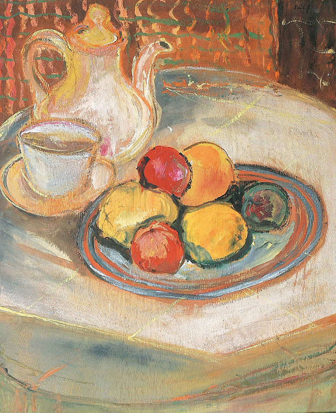A still life with fruit bowl and coffe pot