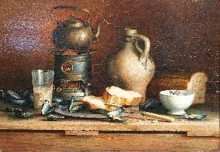 A still life with shells and tea pot