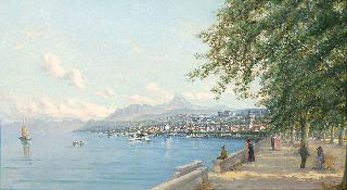 The view of Evian on the Lake Geneva