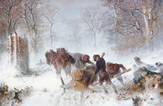 Wood-cutters with horses in a winterly forest