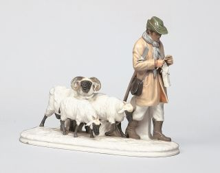 An art nouveau group 'Shepherd with his flock of sheep'