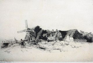 A farm with a windmill and peasants