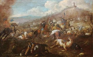 A pair of Italian battle scenes from the 17th cent.