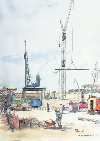 Hamburg: The construction of the Berliner Tor-bridge