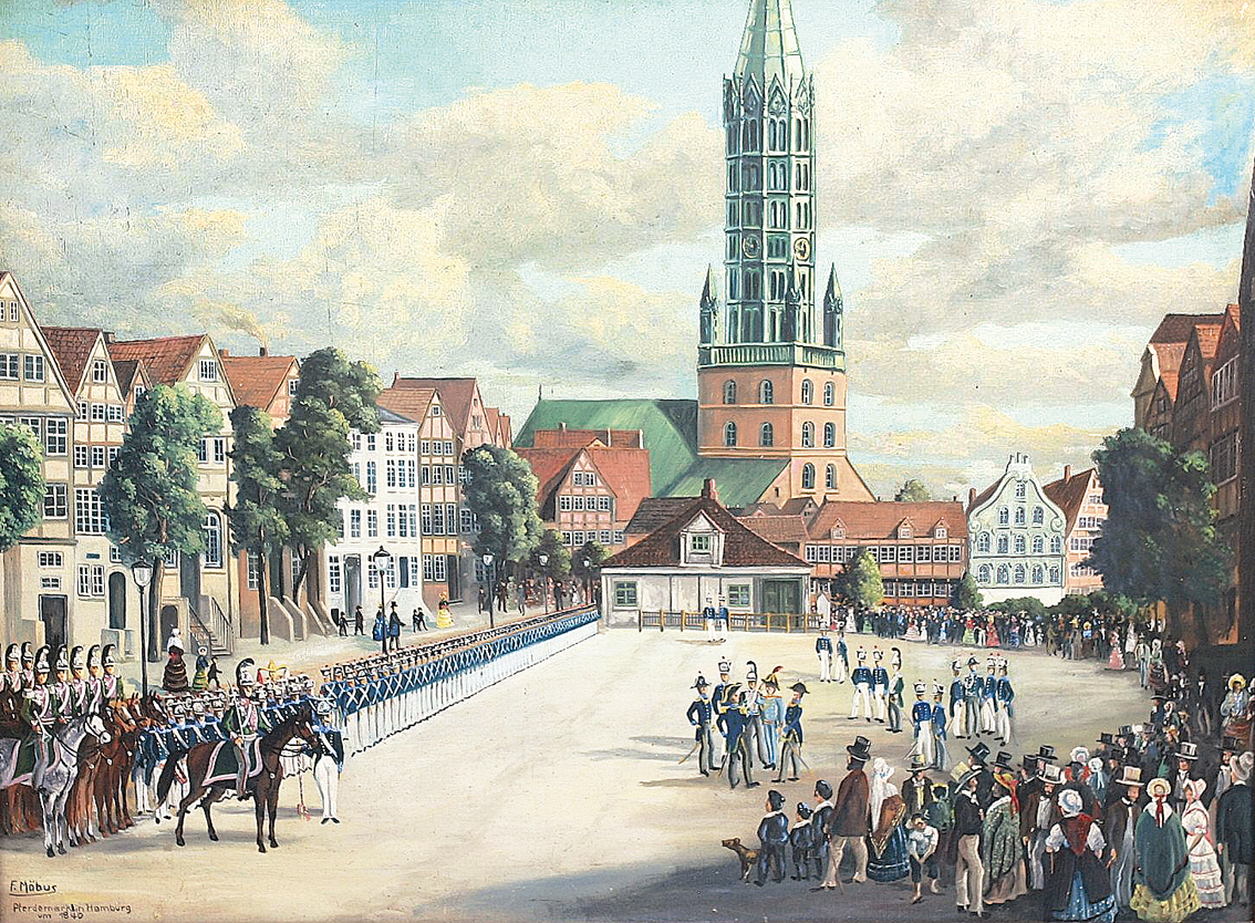 A parade on the 'Neuer Pferdemarkt' in Hamburg c. 1840