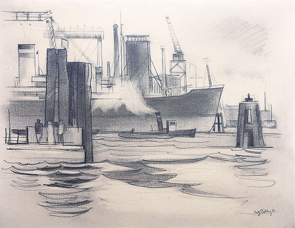 Two drawings: The harbour in Hamburg and Esbjerg