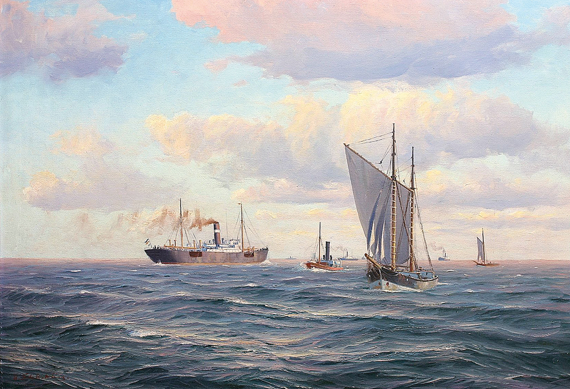 Steam ships and lighters at sea