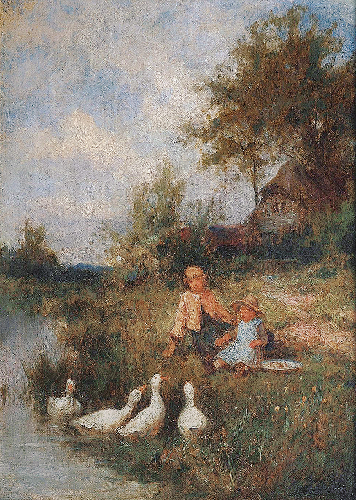 A landscape on Funen with children and geese