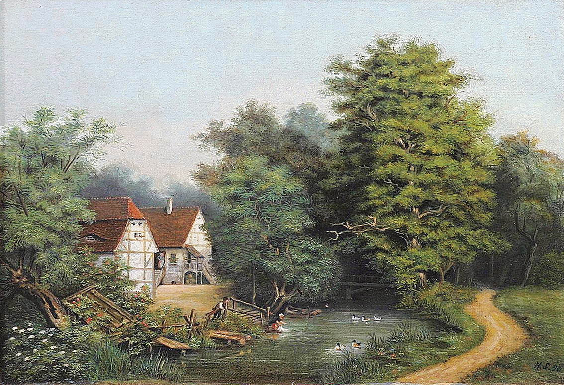 Houses near a river