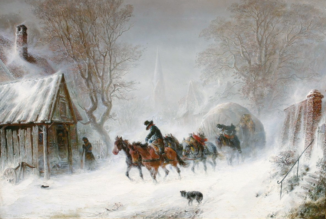 A fourrage transport through a winterly town