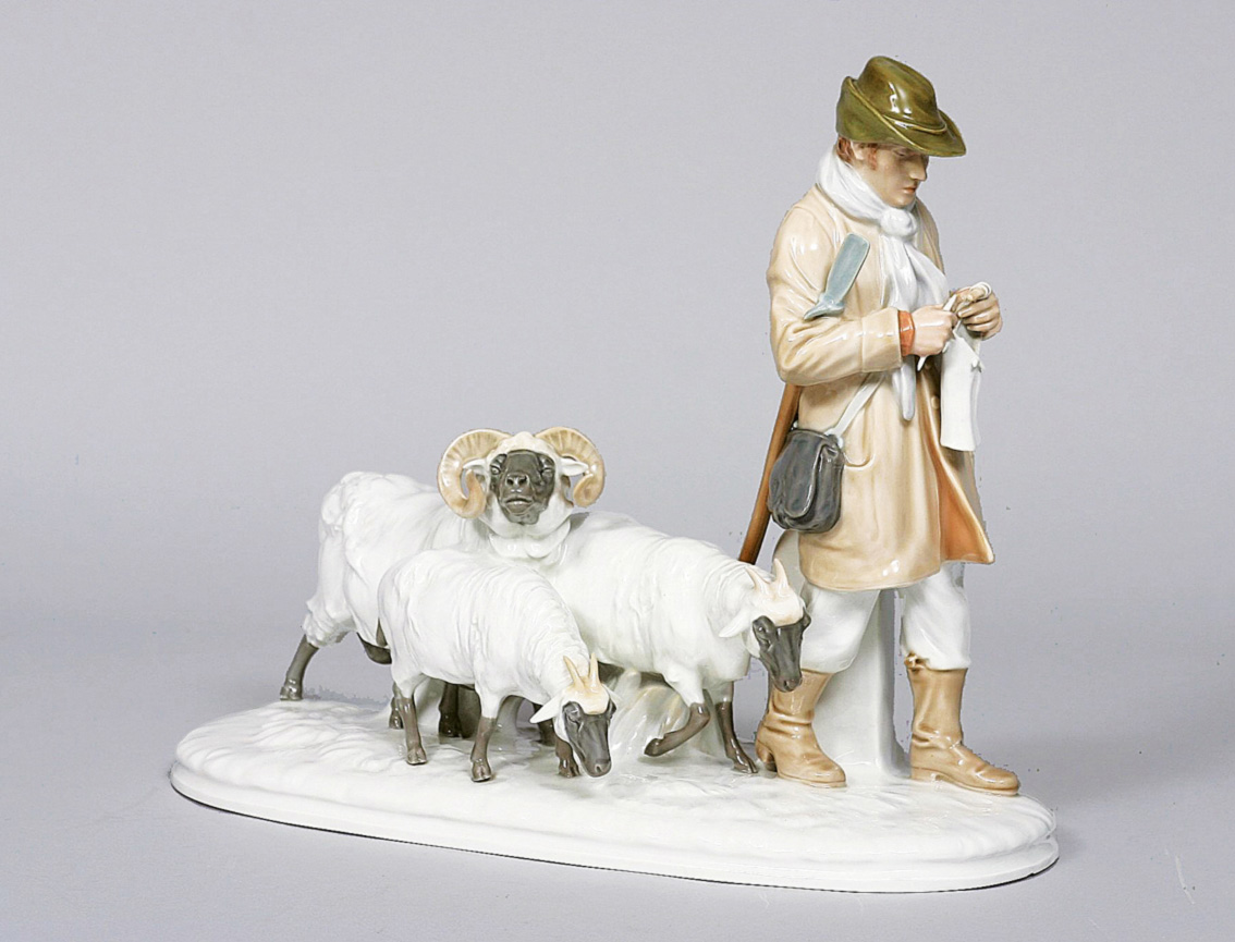 An art nouveau group 'shepherd with his flock'