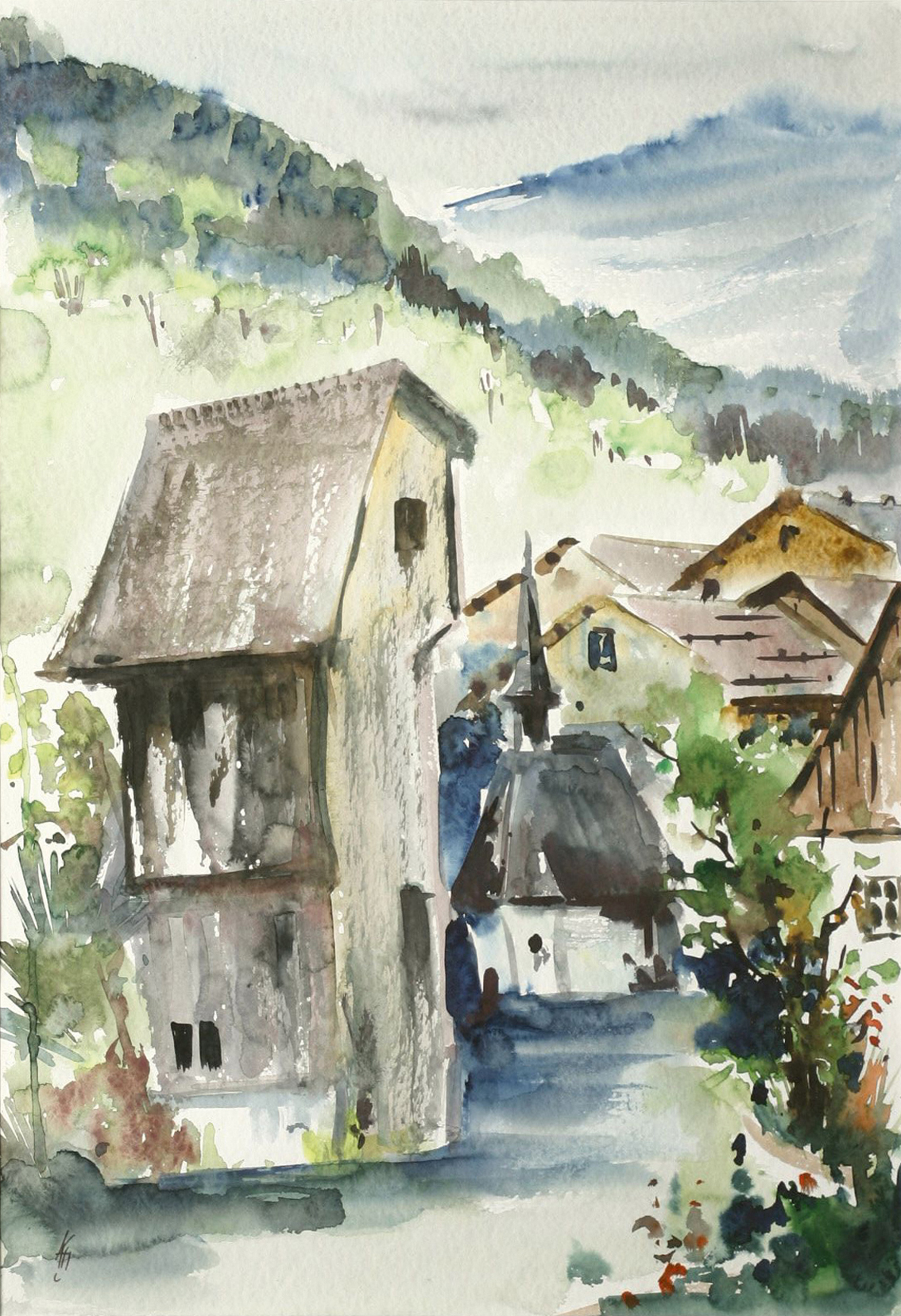 View of a village in the mountains