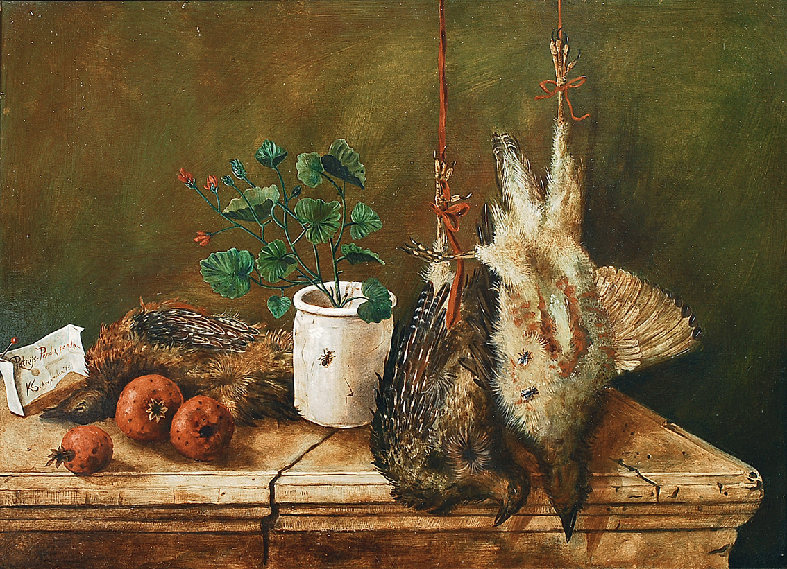 A hunting still life with partridges