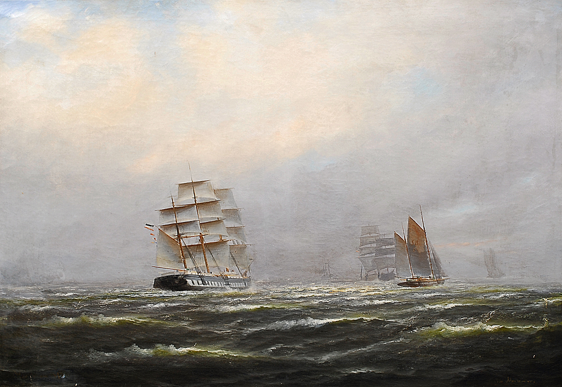 A frigate and other sailing ships