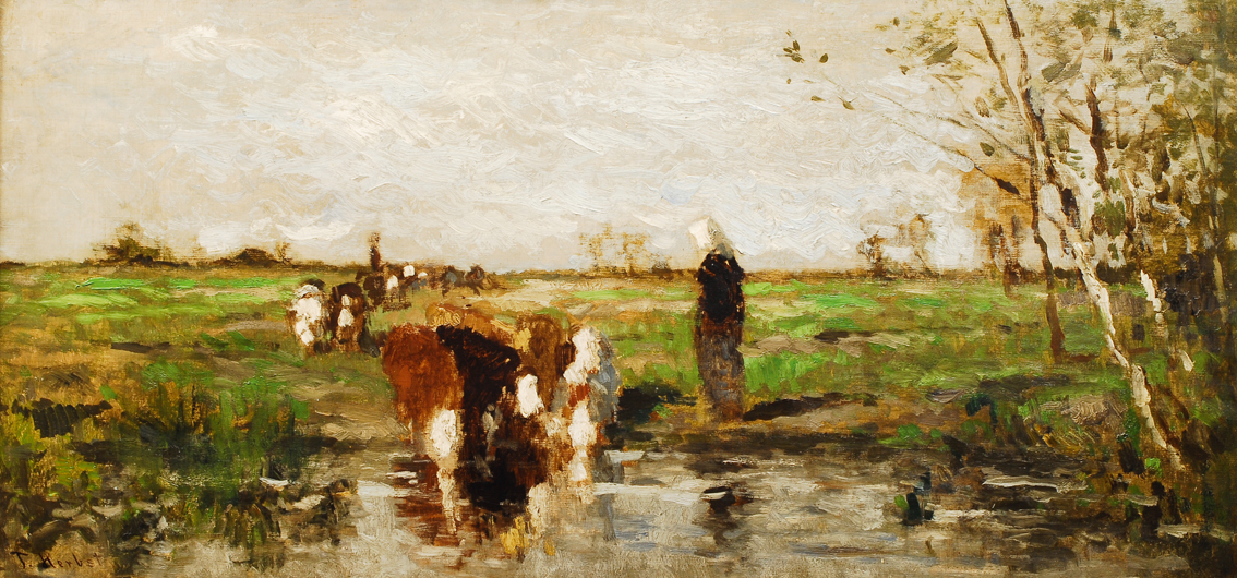 A shepherdess with cow herd at watering place