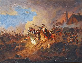 A battle between Napoleonic troops and Ulans