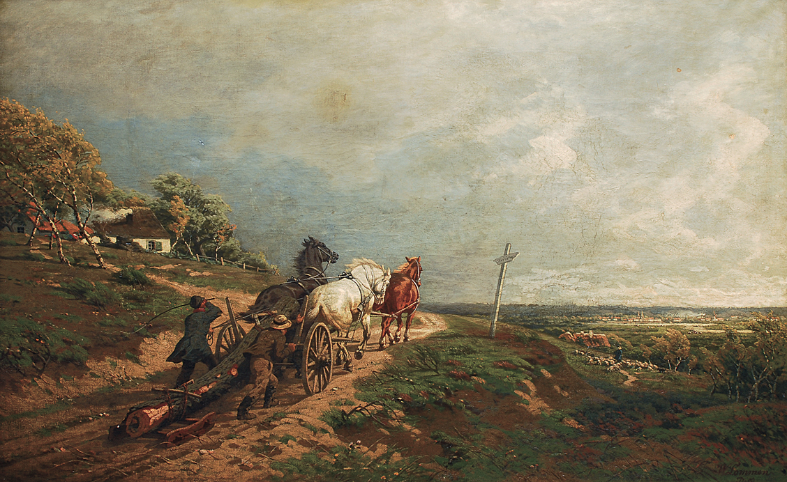 A horse cart in a wide landscape