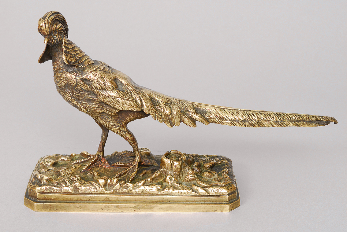 A bronze figure 'Golden Pheasant'
