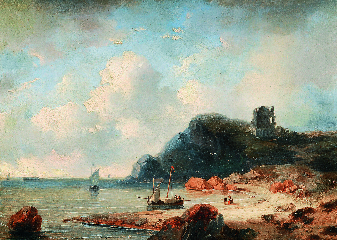 A view on a bay with various shipping and figures at the shore, a castle u.ri.
