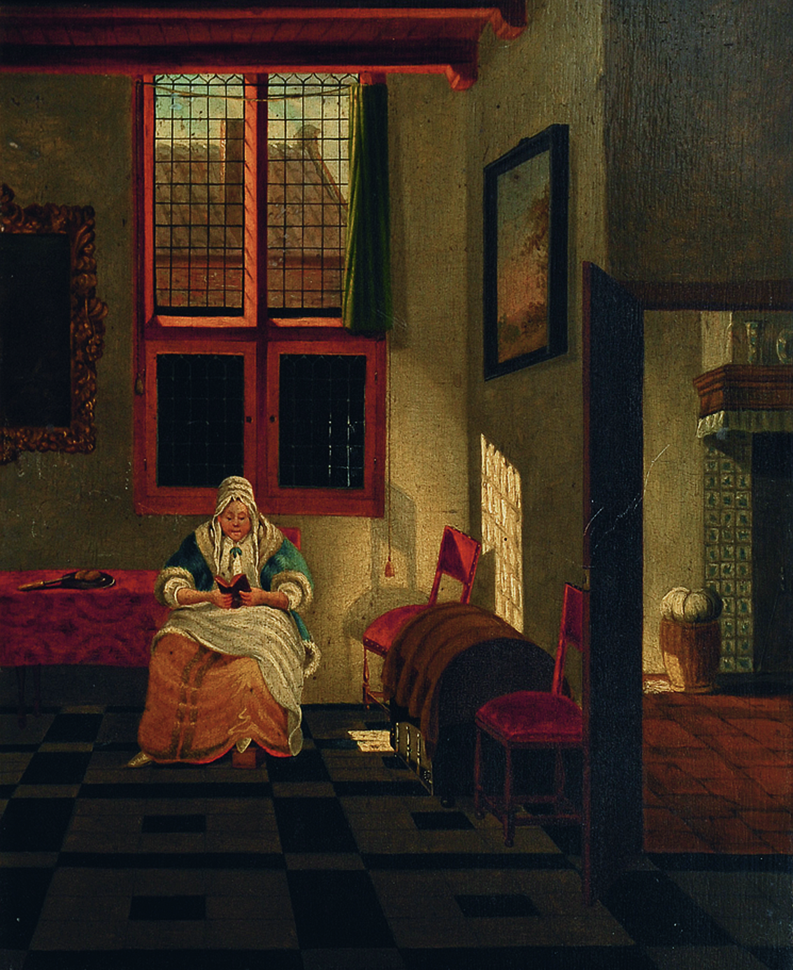 An interior with a woman reading