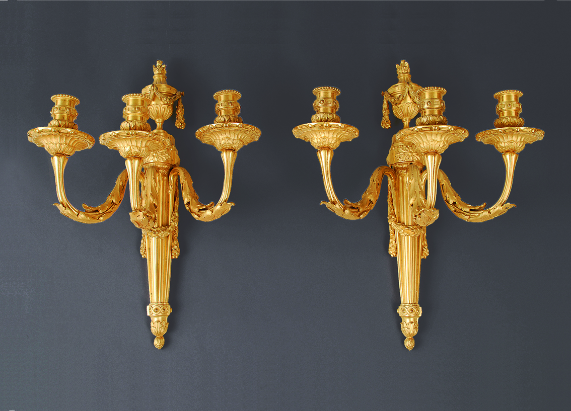 A french pair of signed Louis-Seize wall lights