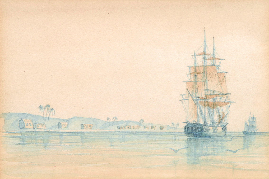 A pair of watercolours a frigate and a sailing ship