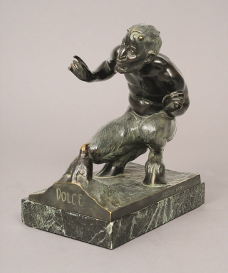 "A small bronze figure 'satyr with bird - ""Dolce""'"