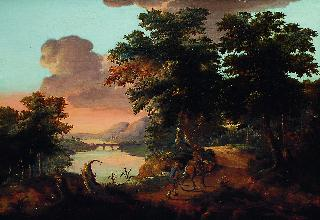 An italianate landscape with hunters