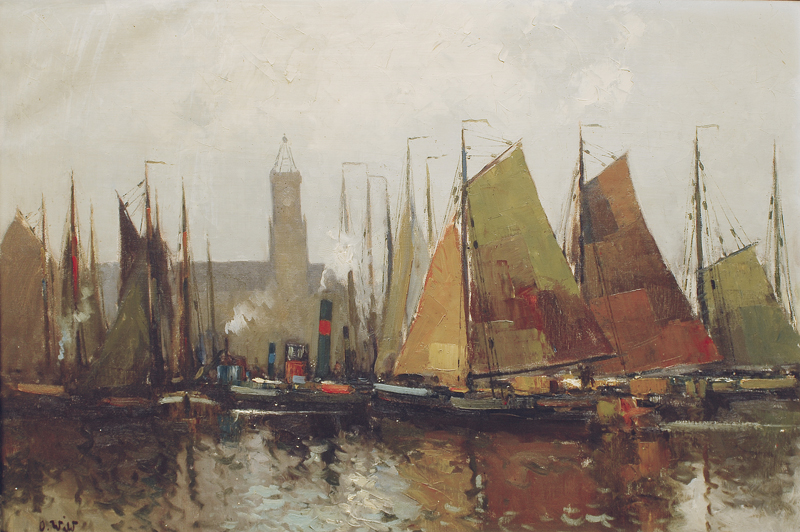 A harbour with sailing boats