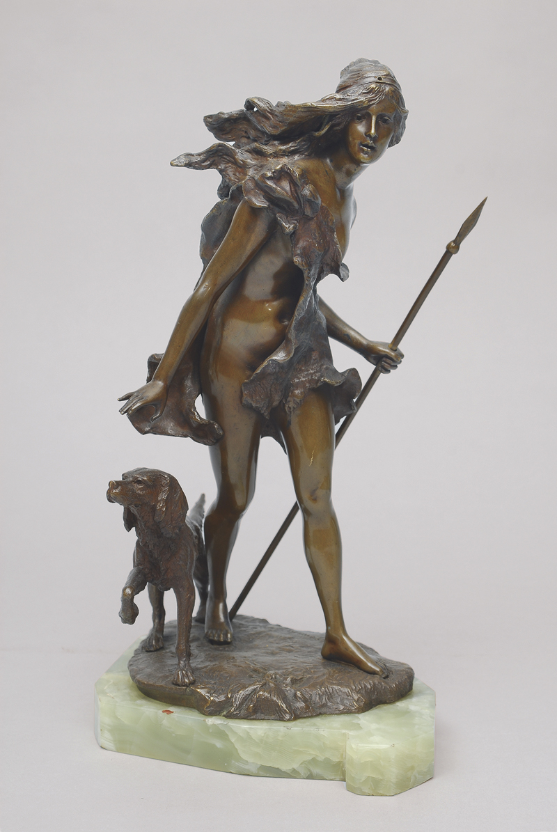 A bronze figure 'Diana with hunting dog'