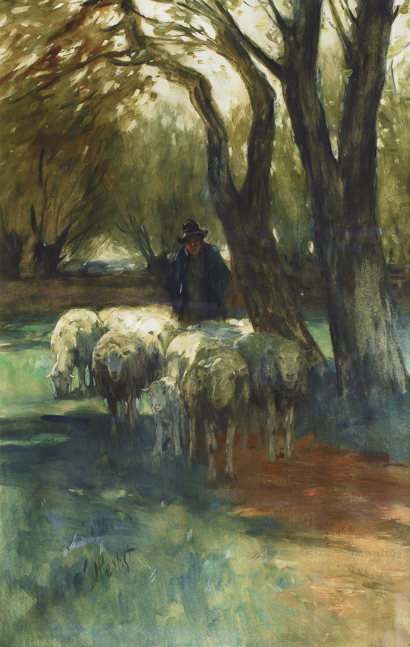 A farmer with sheep