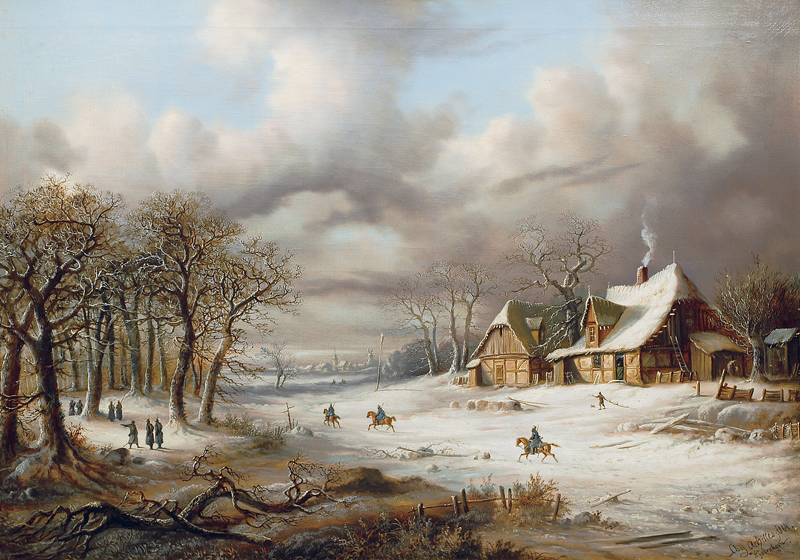 Winter scene with soldiers