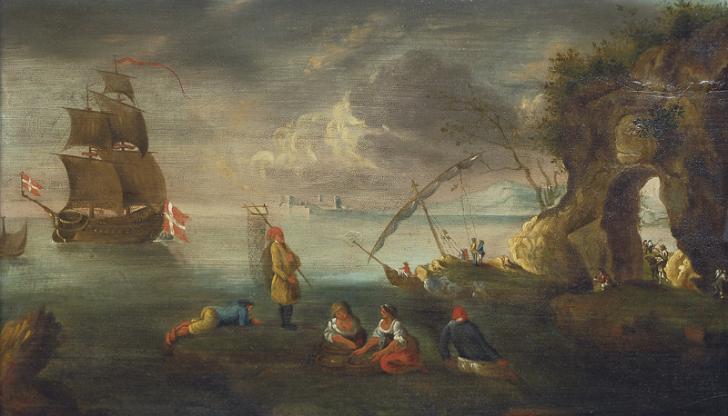 Southern coastel scene with a danish frigate