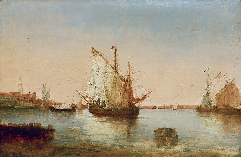 Pair of paintings: Sailing boats in a harbour