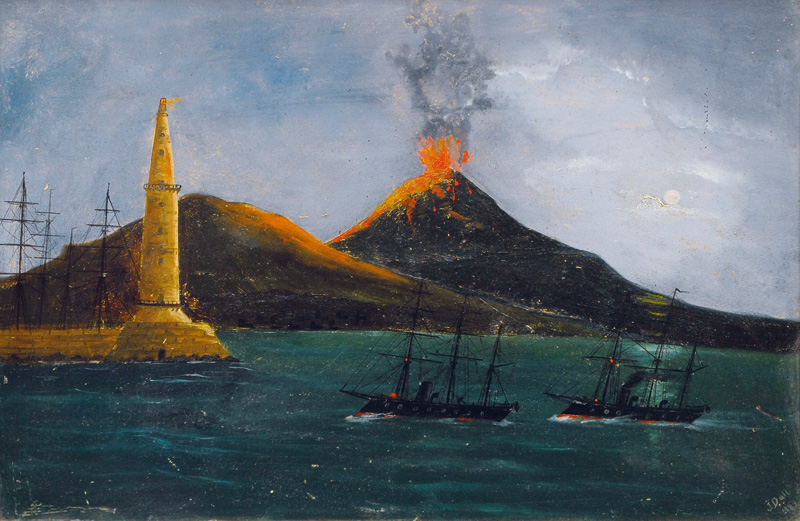 Two armoured frigates in front of Mount Vesuvius