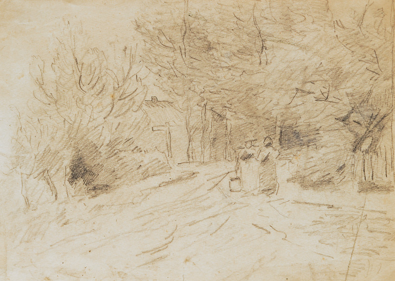 3 drawings with landscape, persons and animals