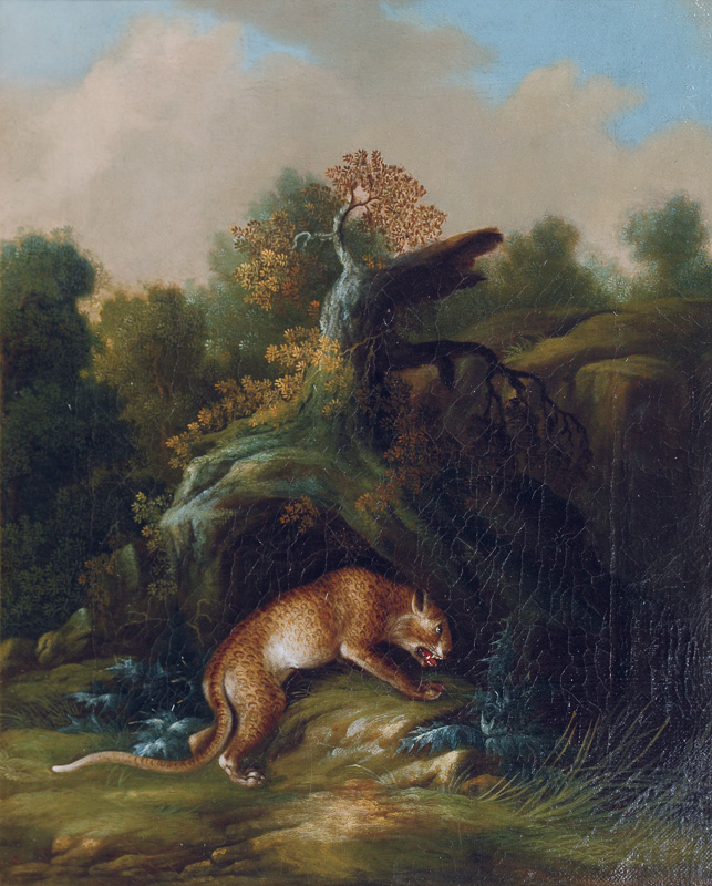 A pair of paintings: leopard and wolf