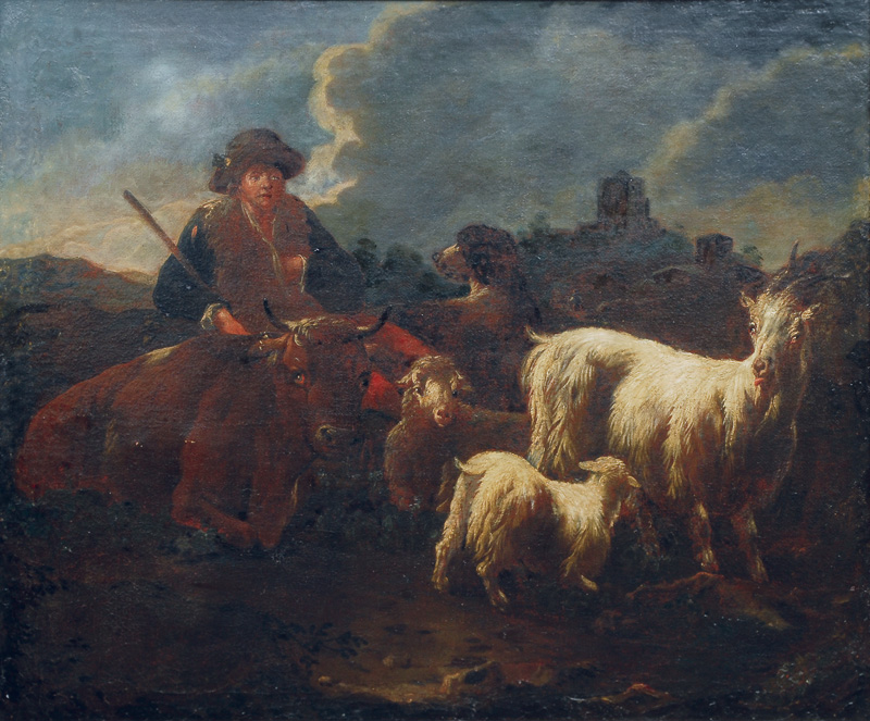 Shepherd and his flock in a Roman landscape