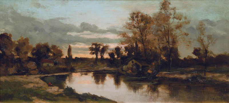 River landscape in the evening