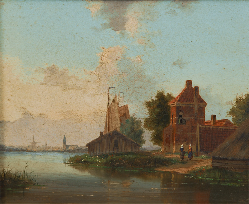 River landscape with a Dutch town in the background