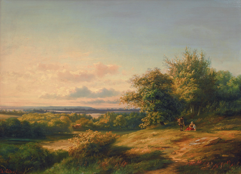 Figures in a vast Summer Landscape
