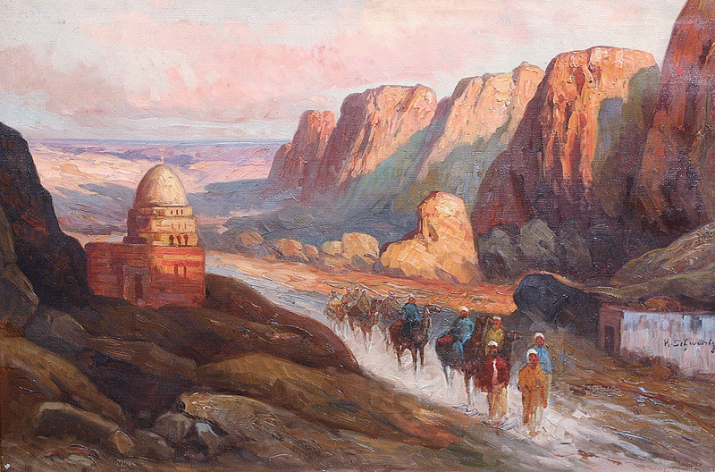 Oriental Riders in a rocky Gorge near a Mosque