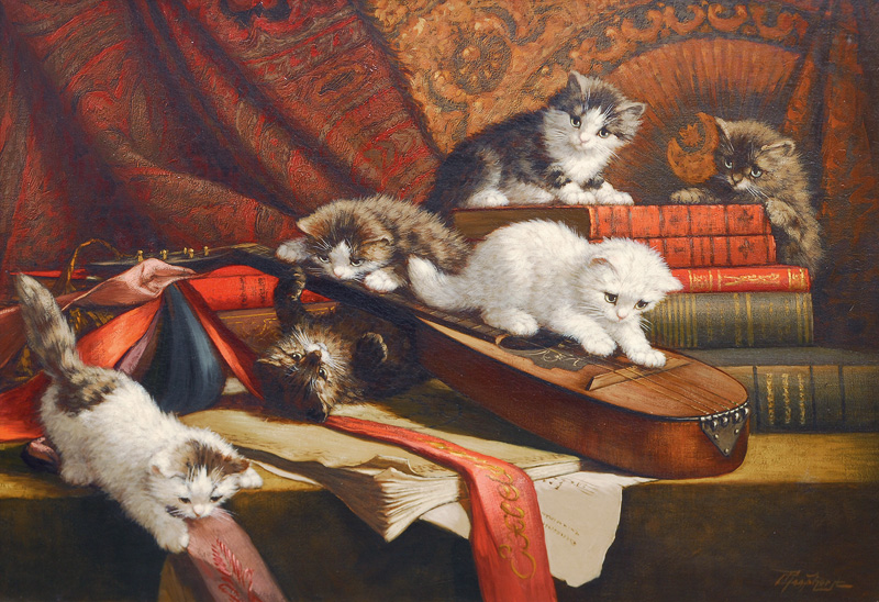 Playing kittens with books and a lute