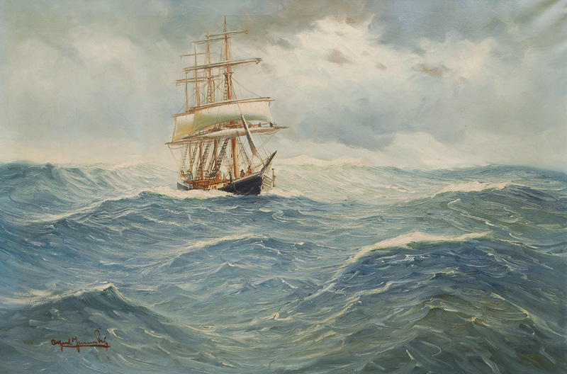 A four-master in the stormy sea